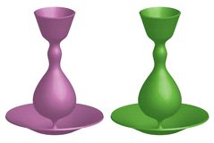 Två färgvaser royaltyfri illustrationer