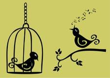 Två fåglar Arkivfoto