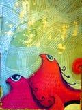 Två fåglar med lockiga vapen - Street Art av Valencia royaltyfria bilder