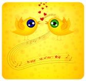 Två fåglar som flaping vingarna, är förälskade royaltyfri illustrationer