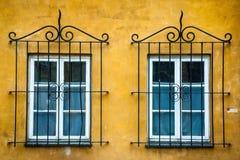Två fönster med dekorativt metallgaller Royaltyfri Foto
