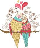 Två förälskade gulliga fåglar, färgrik illustration Royaltyfri Foto