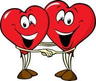 Två förälskade hjärtor Arkivfoton