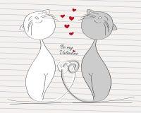 Två förälskade katter - grå och vit katt med deras vridna svansar vektor illustrationer
