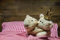 Två förälskade nallebjörnar - prins och prinsessa Fotografering för Bildbyråer
