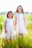 Två förtjusande flickor i vita klänningar som står i ängen Arkivbilder