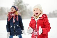 Två förtjusande små flickor som har gyckel i härlig vinter, parkerar tillsammans Härliga systrar som spelar i en snö arkivbilder