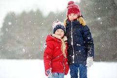 Två förtjusande små flickor som har gyckel i härlig vinter, parkerar tillsammans Härliga systrar som spelar i en snö fotografering för bildbyråer