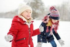 Två förtjusande små flickor som har gyckel i härlig vinter, parkerar tillsammans Härliga systrar som spelar i en snö arkivfoto