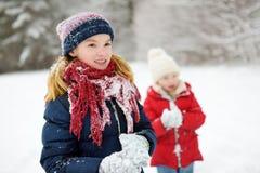 Två förtjusande små flickor som har gyckel i härlig vinter, parkerar tillsammans Härliga systrar som spelar i en snö arkivbild