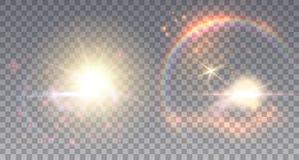 Två felika solar med ljusa effekter stock illustrationer