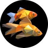 Två fiskar i akvariumpolygonstilen Modeillustrationnolla Arkivfoton