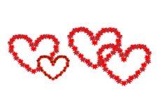 Två flätade samman hjärtor Symbol av förälskelse royaltyfri illustrationer