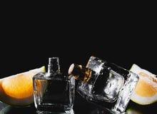 Två flaskor av dofter med citruns Arkivbilder