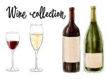 Två flaskor av vin med två exponeringsglas som isoleras på vit bakgrund Vinsamling också vektor för coreldrawillustration arkivfoto