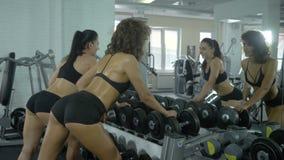 Två flickaidrottskvinnor som gör övningar på händer genom att använda en hantel som framme står av en spegel i idrottshallen lager videofilmer