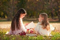 Två flickasystrar läste boken på gräset Royaltyfri Foto