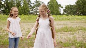 Två flickavänner som har gyckel på grön semester för gräsmattastundsommar Tenager flickor som skrattar på grön ängstundsommar lager videofilmer