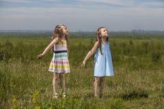 Två flickor är nätta barn i natur som ler lyckligt i set royaltyfri bild
