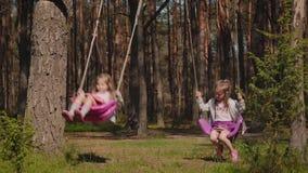Två flickor är svängande på gungor i skogen stock video