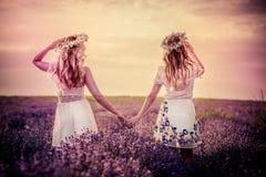 Två flickor i ett lavendelfält royaltyfria bilder
