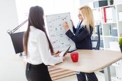 Två flickor i kontoret som diskuterar projektet på ett magnetiskt bräde arkivfoton