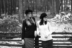 Två flickor i trät Royaltyfria Foton