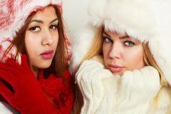 Två flickor i varm vinterklädstående fotografering för bildbyråer