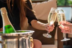 Två flickor klirrar exponeringsglas av champagne på en härlig sommarterrass Mousserande champagneexponeringsglas fotografering för bildbyråer