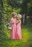 Två flickor med en korg av blommor och en promenad i trädgården 65 Royaltyfria Bilder