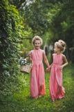 Två flickor med en korg av blommor och en promenad i trädgården 65 Royaltyfria Foton