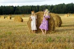 Två flickor på fältet Arkivfoto
