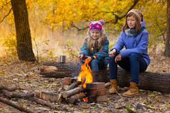 Två flickor på picknick Fotografering för Bildbyråer