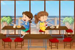 Två flickor som äter i kantin stock illustrationer