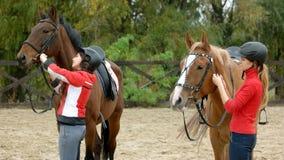 Två flickor som förbereder hästar för ritt på ranchen royaltyfria bilder