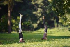 Två flickor som gör yoga, övar parkerar in Arkivbilder