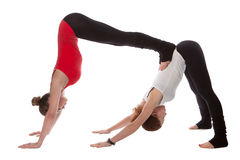Två flickor som gör yoga Arkivfoto