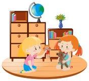 Två flickor som spelar dockor i rummet vektor illustrationer