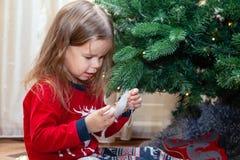 Två flickvänner är posera och bedra omkring julgranen royaltyfri fotografi