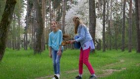 Två flickvänner har gyckel in att parkera hoppa med en gitarr i deras händer som skrattar och le Begreppsferier stock video