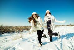 Två flickvänner har gyckel och tycker om ny snö Royaltyfri Foto