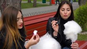 Två flickvänner i parkera som äter sockervadden och samtal arkivfilmer