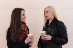 Två flickvänner som talar om problem royaltyfria foton