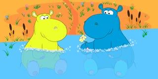 Två flodhästar i en dammtecknad filmvektor stock illustrationer