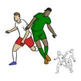 Två fotbollspelare som spelar i modig vektorillustration, skissar gör Royaltyfri Foto