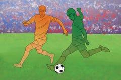 Två fotbollsspelare med bollen Fotografering för Bildbyråer