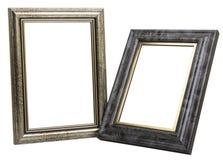 Två fotoramar som isoleras på vit bakgrund Fotografering för Bildbyråer