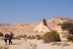 Två fotvandrare i den Negev öknen Fotografering för Bildbyråer