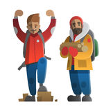 Två fotvandrare och fotvandrare Trekking och att fotvandra och att klättra, travelin royaltyfri illustrationer