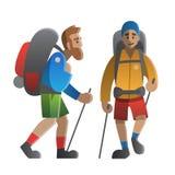 Två fotvandrare och fotvandrare Trekking och att fotvandra och att klättra, travelin vektor illustrationer